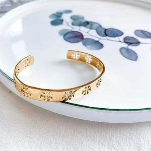 Tory Burch T logo Open Bangle Gold
